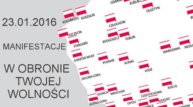 """Manifestacje """"W obronie Twojej wolności"""" 23.01.2016"""